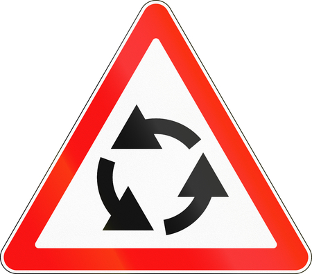 counterclockwise: Road sign used in Russia - Roundabout ahead.