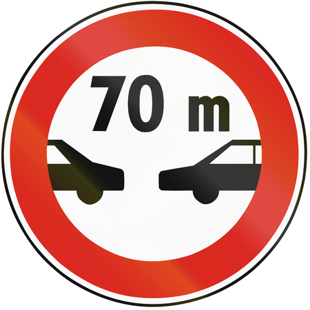 distance: Road sign used in Slovakia - Safety distance. Stock Photo