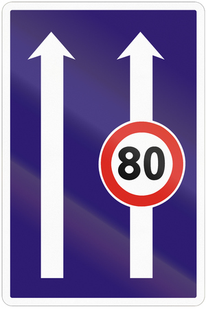 slow lane: Road sign used in Slovakia - Use of the lanes with speed limits.