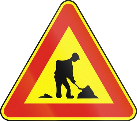 eastern europe: Road sign used in Slovakia - Roadworks (as a temporary sign). Stock Photo