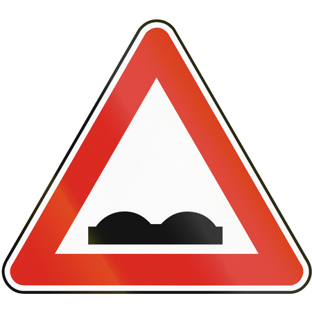 uneven: Road sign used in Slovakia - Uneven spots. Stock Photo