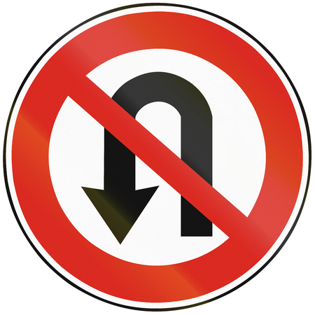 uturn: Road sign used in Slovakia - No U-Turn. Stock Photo
