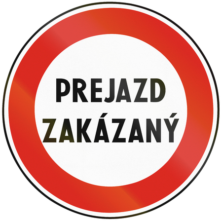 passing the road: Road sign used in Slovakia - No passing.
