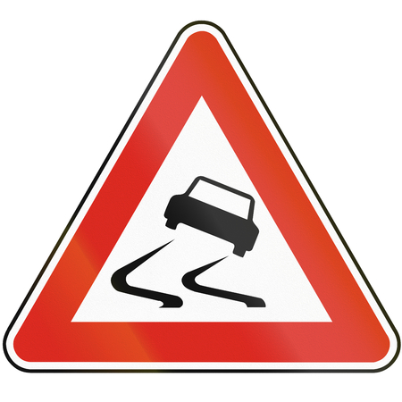 skidding: Road sign used in Slovakia - Risk of skidding. Stock Photo