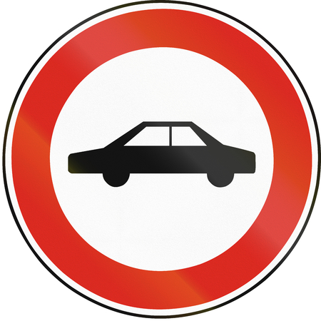 eastern europe: Road sign used in Slovakia - No cars.