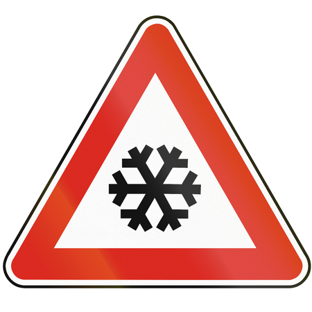 eastern europe: Road sign used in Slovakia - Snow or black ice.