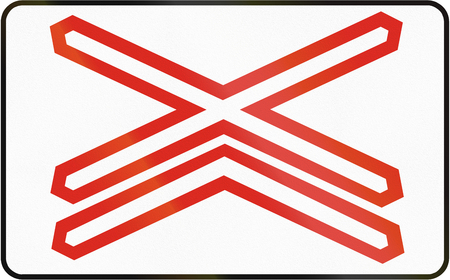 cross road: Road sign used in Slovakia - Warning cross for single track level crossing.