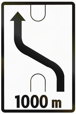 information median: Road sign used in Slovakia - Lane crossover.