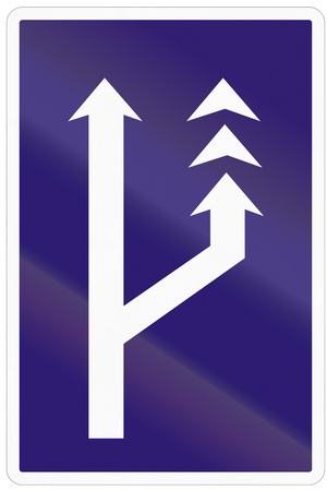 slow lane: Road sign used in Slovakia - Slow lane. Stock Photo