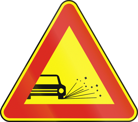 chippings: Road sign used in Slovakia - Loose chippings (as a temporary sign).