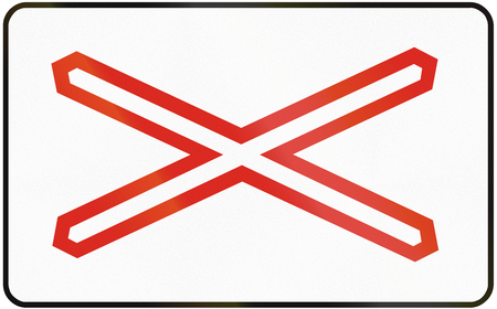single track: Road sign used in Slovakia - Warning cross for single track level crossing.
