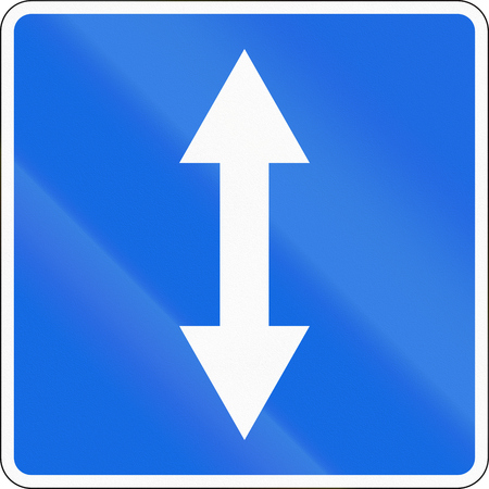 opposing: Road sign used in Russia - Two-way traffic. Stock Photo