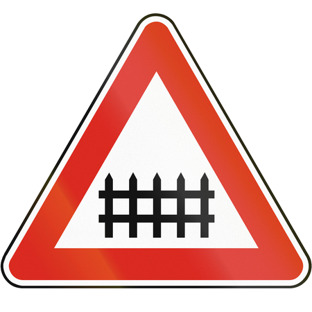 crossings: Road sign used in Slovakia - Level crossings with barriers.