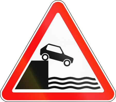unprotected: Road sign used in Russia - Unprotected quayside or riverbank. Stock Photo