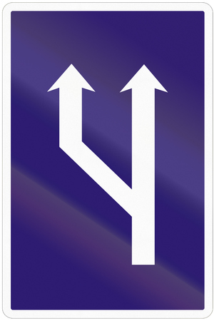 lanes: Road sign used in Slovakia - Increased lanes available.