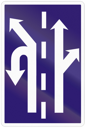 intersection: Road sign used in Slovakia - Use of the lanes in an intersection.
