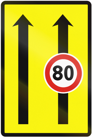 temporary: Road sign used in Slovakia - Use of the lanes with speed limits (temporary).