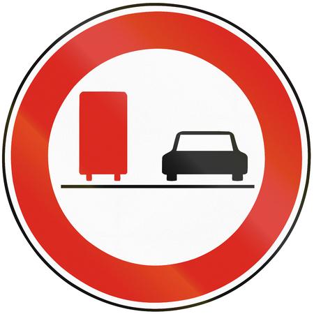 no overtaking: Road sign used in Slovakia - No overtaking for lorries.