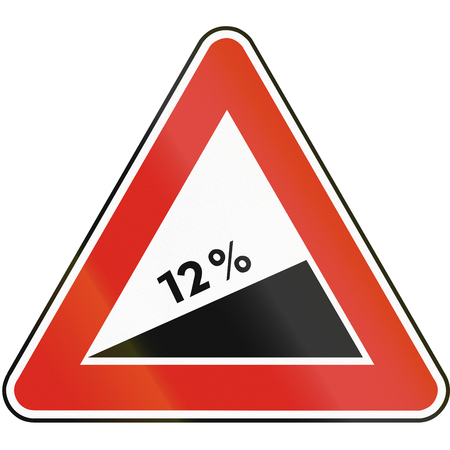 number twelve: Road sign used in Slovakia - Dangerous ascent.
