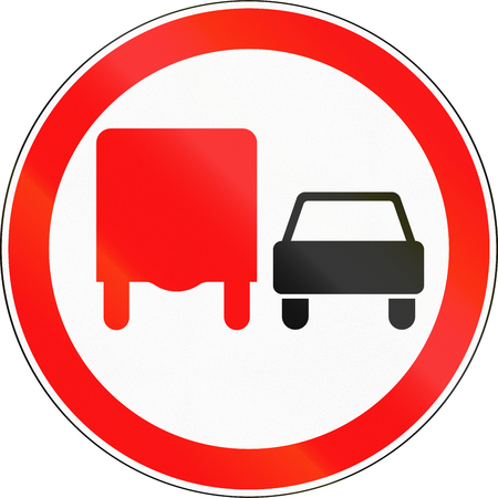 no overtaking: Road sign used in Russia - No overtaking by heavy goods vehicles.