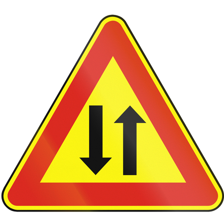 opposing: Road sign used in Slovakia - Two-way traffic (as a temporary sign). Stock Photo