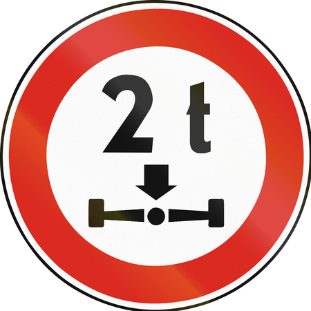 axle: Road sign used in Slovakia - Axle load limit. Stock Photo