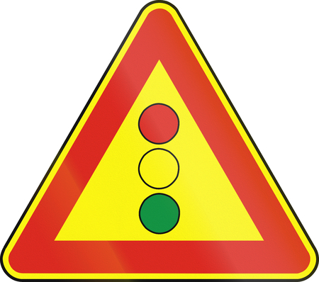eastern europe: Road sign used in Slovakia - Traffic lights (as a temporary sign). Stock Photo