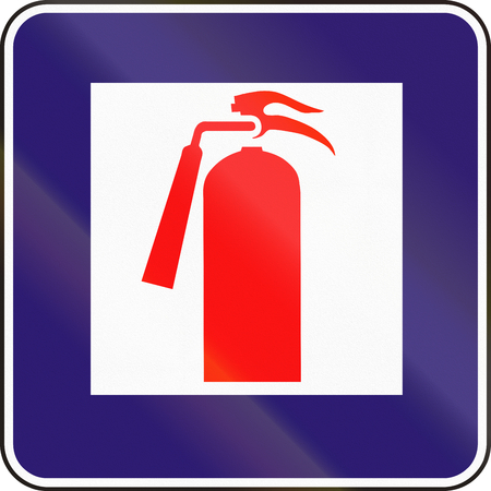 eastern europe: Road sign used in Slovakia - Fire extinguisher. Stock Photo