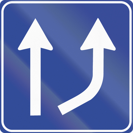 lanes: Road sign used in Italy - Available lanes change. Stock Photo