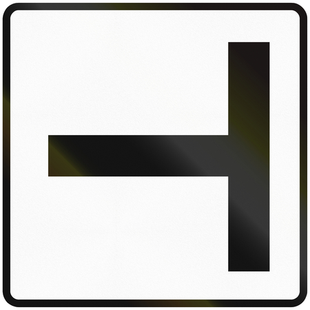 slovakia: Road sign used in Slovakia - T-Intersection.