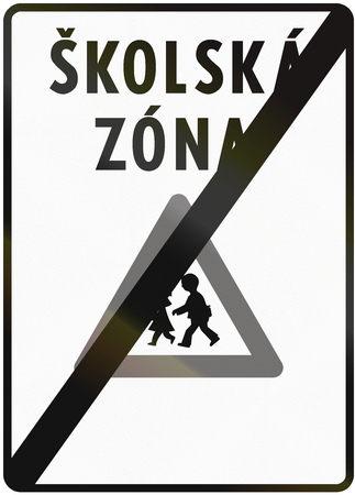 means to an end: Road sign used in Slovakia - End of school zone. Skolska zona means school zone. Stock Photo