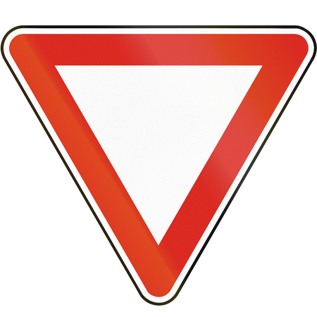 yield sign: Road sign used in Slovakia - Yield. Stock Photo