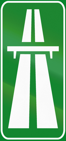 two lane highway: Road sign used in Italy - motorway.