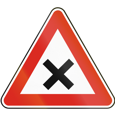 intersection: Road sign used in Slovakia - Intersection. Stock Photo