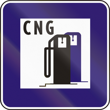 eastern europe: Road sign used in Slovakia - CNG refueling.