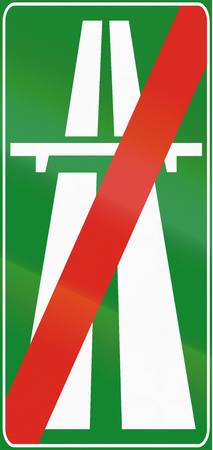 two lane highway: Road sign used in Italy - end motorway. Stock Photo