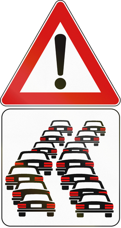rear view: Road sign used in Italy - danger of queues.