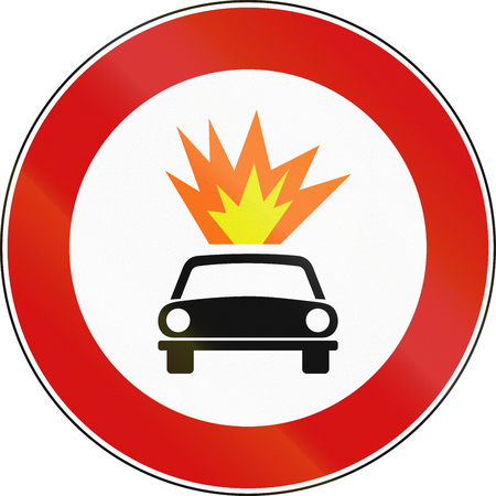 Road sign used in Italy - vehicles transporting explosive or flammable materials prohibited.