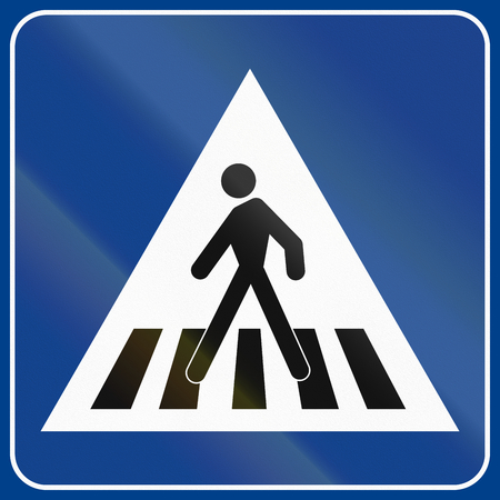 pedestrian: Road sign used in Italy - pedestrian crossing. Stock Photo