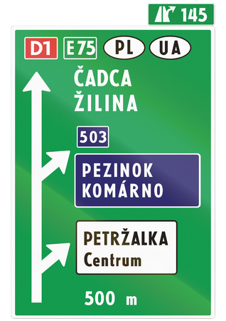 direction sign: Road sign used in Slovakia - Direction sign.