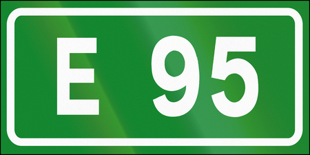 95: Road sign used in Italy - Icon of european road E95.