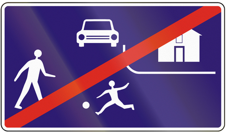 residential zone: Road sign used in Slovakia - End of the road residential. Stock Photo