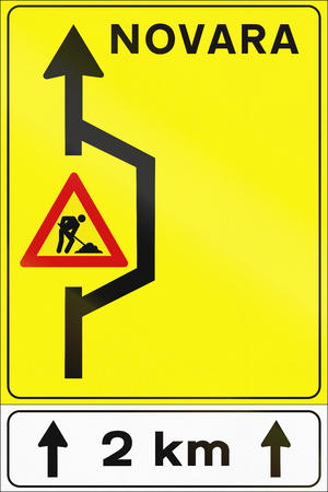 temporary workers: Road sign used in Italy - Detour. Stock Photo