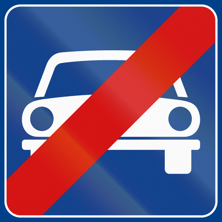 end of the road: Road sign used in Italy - end of motor vehicles only. Stock Photo