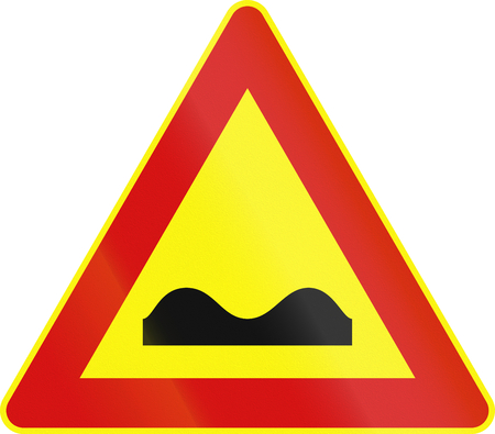 on temporary: Road sign used in Italy - uneven road - temporary.