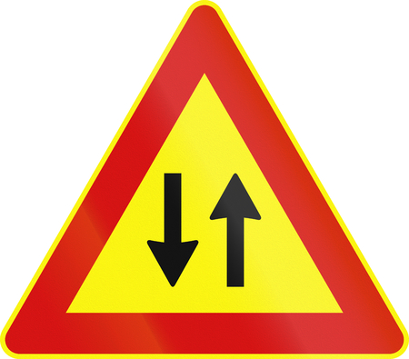 on temporary: Road sign used in Italy - traffic in both directions - temporary.