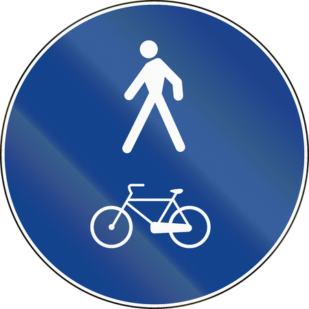 walking path: Road sign used in Italy - bike and pedestrian lane.