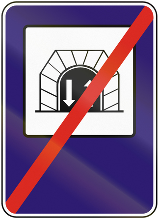 opposing: Road sign used in Slovakia - End two-way tunnel.