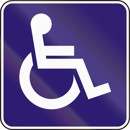physically: Road sign used in Slovakia - Disabled persons. Stock Photo