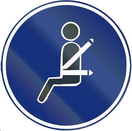 Road sign used in Spain - Mandatory seat belt.